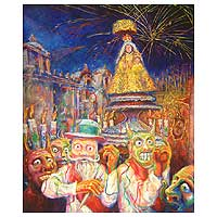 'Procession of the Virgin' - Impressionist Painting