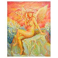 'Woman at Sunset' - Artistic Nude Expressionist Painting from Peru