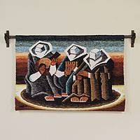 Wool tapestry, 'Musicians from my Village' - Wool tapestry