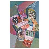 'Love of a Mother' - Peruvian Abstract Cubist Painting