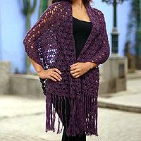 100% alpaca shawl, 'Plum Temptation' - 100% alpaca shawl