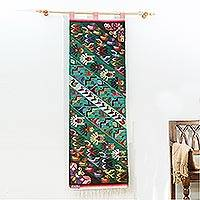 Wool tapestry, 'Flight' - Birds and Butterflies on Multicolor Handloomed Wool Tapestry