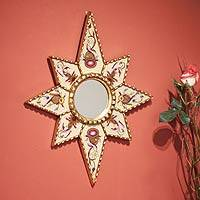 Cedar mirror, 'Star of Love' - Handmade Star Cedar Wood Glass Mirror