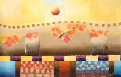 'Inca Necropolis in the Sun' - Landscape Surrealist Painting
