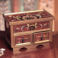 Painted glass chest of drawers Ruby Majesty NOVICA from novica.com