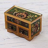 Painted glass chest of drawers, 'Jade Majesty' - Reverse Painted Glass Jewelry Box