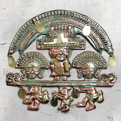 Copper wall adornment, 'Lambayeque Deity' - Copper wall adornment