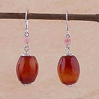 Carnelian and rose quartz dangle earrings, 'Intense' - Carnelian Dangle Earrings