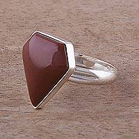 Jasper cocktail ring, 'Warmth' - Sterling Silver Cocktail Jasper Ring