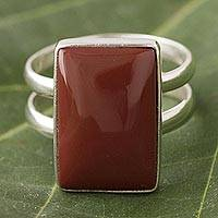 Jasper cocktail ring, 'Passion' - Sterling Silver Jasper Cocktail Ring from Peru