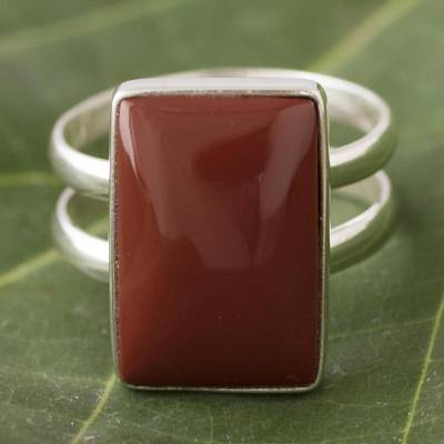 Jasper cocktail ring, 'Passionate One' - Sterling Silver Jasper Cocktail Ring from Peru