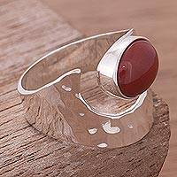 Jasper cocktail ring, 'Harmony' - Jasper and Hammered Silver 925 Cocktail Ring