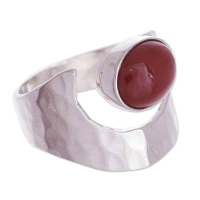 Jasper and Hammered Silver 925 Cocktail Ring