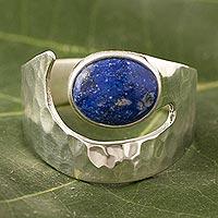 Lapis lazuli cocktail ring, 'Balance' - Soothing Lapis Lazuli Soul Stone Silver Ring from Peru