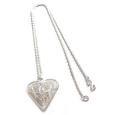 Handcrafted Heart Shaped Sterling Silver Pendant Necklace