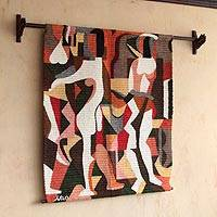 Wool tapestry, 'Silhouettes' - Geometric Handwoven Wool Tapestry and Wall Hanging