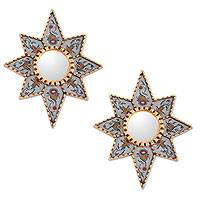 Mohena wood mirrors, 'Radiant Flower Stars' (pair) - Reverse Painted Glass Mirrors (Pair)