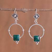 Chrysocolla dangle earrings, 'Flowers, Hugs and Presents' - Chrysocolla dangle earrings