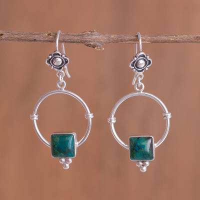 Chrysocolla dangle earrings, Flowers, Hugs and Presents