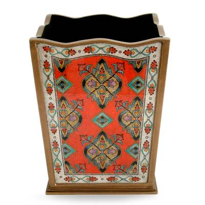 Painted glass wastebasket, 'Crimson Torch' - Peruvian Reverse Painted Glass and Wood Wastebasket