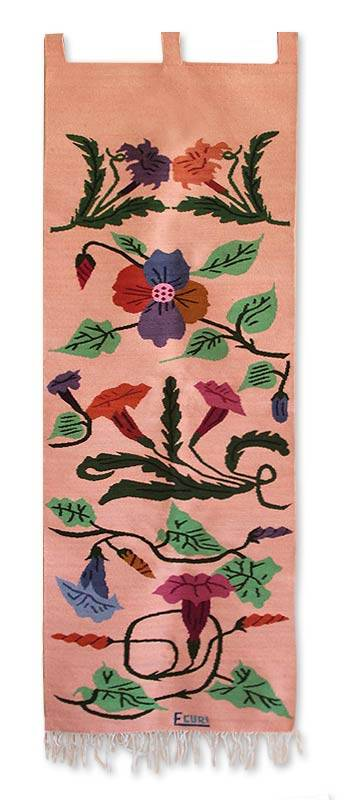 Floral Wool Tapestry Wall Hanging