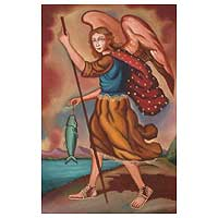 'Archangel Gabriel the Fisherman' - Oil on Canvas Painting