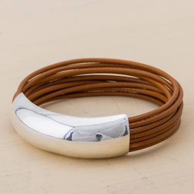 Leather wristband bracelet, 'Chestnut Free Spirit' - Leather and Silver Bracelet