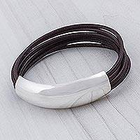 Leather bracelet, 'Free Spirit in Chocolate Brown' - Handmade Leather And Sterling Silver Bracelet Art