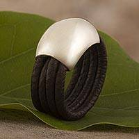 Leather ring, 'Dark Brown Moon' - Leather Silver Designer Ring