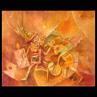 'Vicus Warriors' - Ancient Warriors Original Oil Painting Peru Fine Art