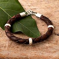 Men's leather bracelet, 'Chankas Warrior in Light Brown' - Men's Leather Sterling Silver Braided Bracelet