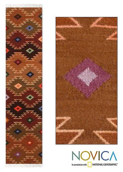 Wool runner, 'Starry Hills' (1x5) - Hand Made Geometric Wool Earthtone Runner from Peru (1x5)