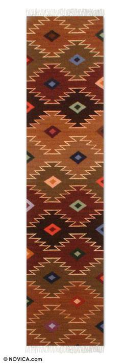 Hand Made Geometric Wool Earthtone Runner from Peru (1x5)