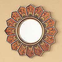 Cedar mirror, 'Daisy Fan' - Reverse Painted Glass Floral Wall Mirror