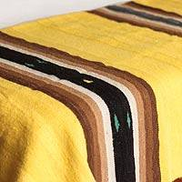 Alpaca throw blanket, 'Flower of the Valley' - Yellow Stripes Hand Woven Alpaca Throw Blanket