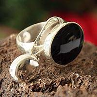 Obsidian cocktail ring, 'Eclipse' - Women's Handcrafted Obsidian Cocktail Ring