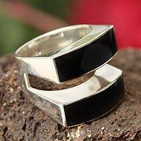 Obsidian cocktail ring, 'Night Couple' - Obsidian cocktail ring