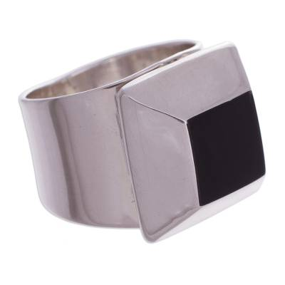 Unique Obsidian and Silver 925 Cocktail Ring