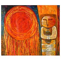 'Offering for the Sun' (2006) - Original Oil Painting Peru Fine Art