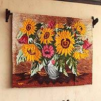 Wool tapestry, 'Bouquet of Sunflowers' - Wool tapestry