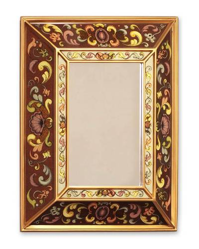 Mirror, 'Coffee Flowers' - Reverse Painted Glass Mirror