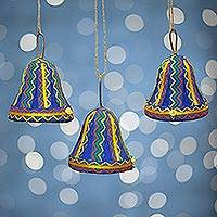 Ornaments, 'Blue Bells' (set of 3) - Ornaments (Set of 3)