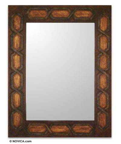 Artisan Crafted Geometric Leather Mirror