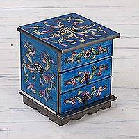 Painted glass jewelry box, 'Celestial Blue' - Reverse Painted Glass Jewelry Box with Mirror