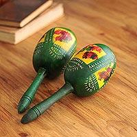 Gourd maracas, 'Green Jungle' (pair) - Gourd maracas (Pair)