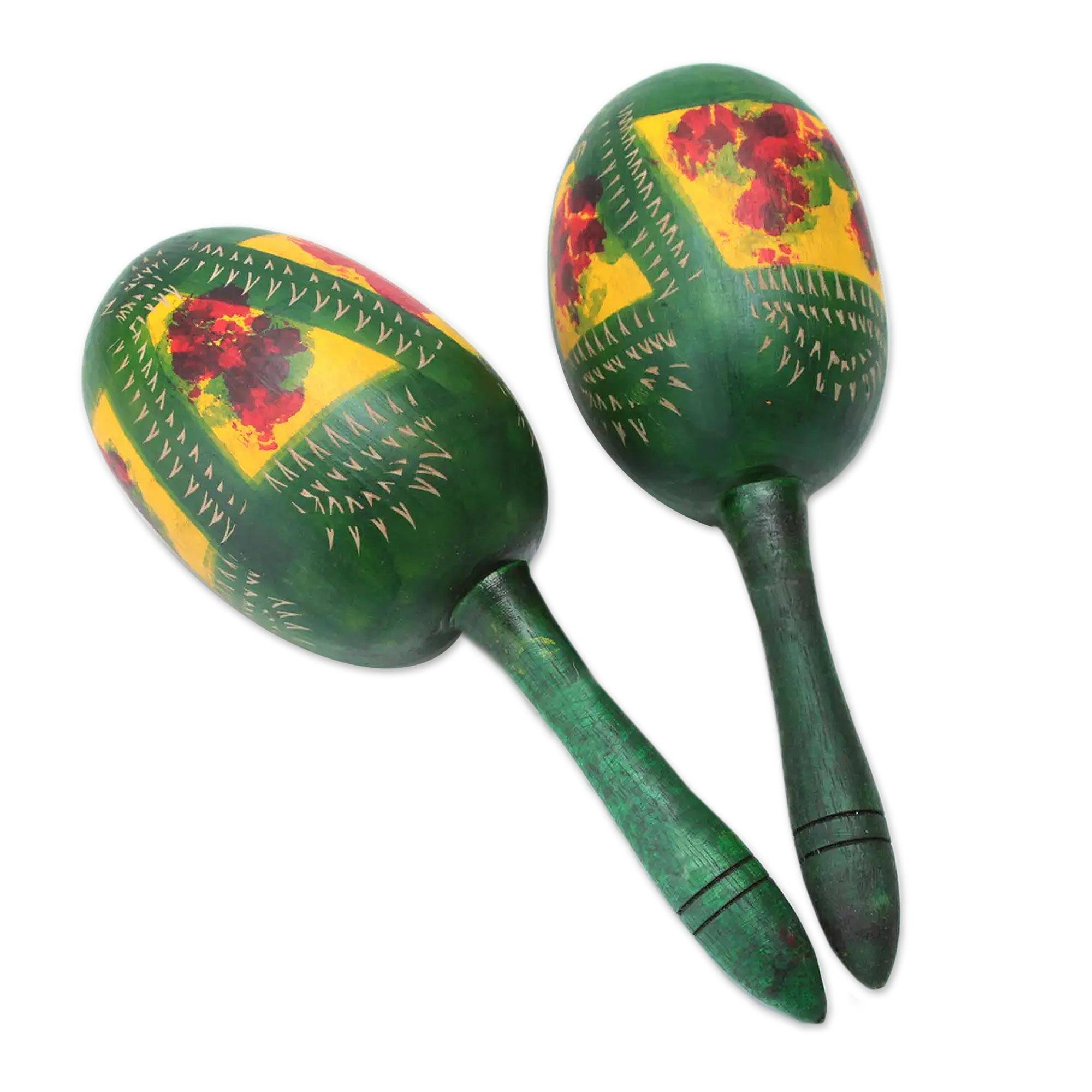 Gourd maracas (Pair), 'Green Jungle' crafted by local legend Dionisio Quilla.