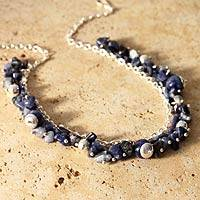 Sodalite choker, 'Indigo Spirit' - Sterling Silver Beaded Sodalite Necklace