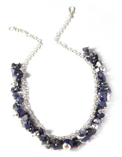 Sterling Silver Beaded Sodalite Necklace