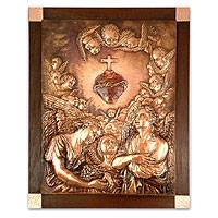 Copper panel, 'Jesus' Sacred Heart' - Fair Trade Christianity Wood Metallic Relief Wall Panel