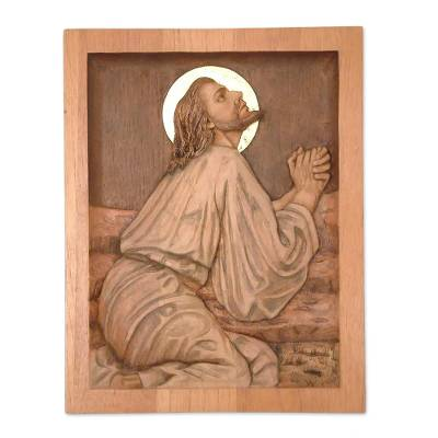 Hand Carved Cedar Jesus Wall Panel Bronze with Bronze Leaf